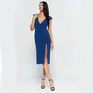 JAY GODFREY Lloyd Deep V Midi Dress